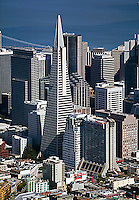 aerial photograph of the Transamerica Pyramid Center, San Francisco, California; the Hilton San Francisco District and the Embarcadero Center also visible