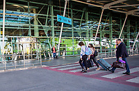 LISBON, PORTUGAL - June 7: People are seen walking with bags at the Airport in Lisbon, on June 7, 2021. <br /> Tourists anticipated trips from Lisbon to the U.K. They decided to return early so they wouldn't have to quarantine. since the new rules were announced for those traveling from Portugal to the UK. <br /> (Photo by Luis Boza/VIEWpress)