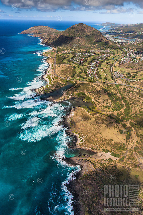 An aerial view of O'ahu's southeast coastline, including Sandy Beach, Koko Crater and Koko Head.