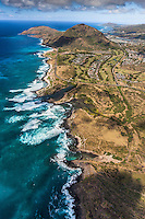 An aerial view of O'ahu's southeast coastline, including Sandy Beach, Koko Crater and Koko Head.