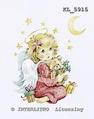 Interlitho, Theresa, CHRISTMAS CHILDREN, paintings, angel, moon, bear, KL5915,#xk# stickers stickers