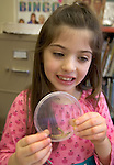 """WOODBURY CT. 30 December 2013-123013SV10-Josie Drago, 7, of Southbury checks out the Mealworms during a program called """"How Cool is That?!"""" at the library in Woodbury Monday. This class was called Mealworm Madness. Children discussed food and color preference, texture and length of mealworms while learning.<br /> Steven Valenti Republican-American"""