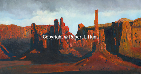 """Yei Bi Chei Rocks and the Totem Pole, home to Navajo religious ceremonies including the nine days of Night Chants, Monument Valley, Arizona. Oil on canvas, 16"""" x 30""""."""