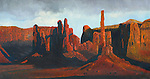 "Yei Bi Chei Rocks and the Totem Pole, home to Navajo religious ceremonies including the nine days of Night Chants, Monument Valley, Arizona. Oil on canvas, 16"" x 30""."