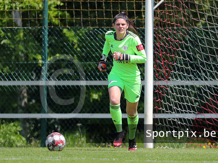 Goalkeeper Louise Van Den Bergh (1) of OHL in action during a female soccer game between Standard Femina de Liege and Oud Heverlee Leuven on the 10th and last matchday in play off 1 of the 2020 - 2021 season of Belgian Scooore Womens Super League , saturday 29 th of May 2021  in Angleur , Belgium . PHOTO SPORTPIX.BE | SPP | SEVIL OKTEM