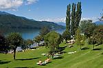 Oesterreich, Kaernten, Millstaetter See, Dellach: Freibad | Austria, Carinthia, Lake Millstatt, Dellach: Lido