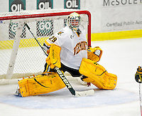 18 October 2009: University of Vermont Catamount goaltender Rob Madore, a Sophomore from Venetia, PA, in action during the third period against the Boston College Eagles at Gutterson Fieldhouse in Burlington, Vermont. Madore stopped 22 shots as the Catamounts defeated the Eagles 4-1 to open Vermont's America East hockey season. Mandatory Credit: Ed Wolfstein Photo