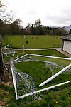 Keswick 1 Kendal 1, 15/04/2017. Fitz Park, Westmoreland League. Practise goal posts by the pitch side. Photo by Paul Thompson.