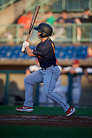 State College Spikes Matt Duce (8) bats during a NY-Penn League game against the Mahoning Valley Scrappers on August 29, 2019 at Eastwood Field in Niles, Ohio.  State College defeated Mahoning Valley 8-1.  (Mike Janes/Four Seam Images)
