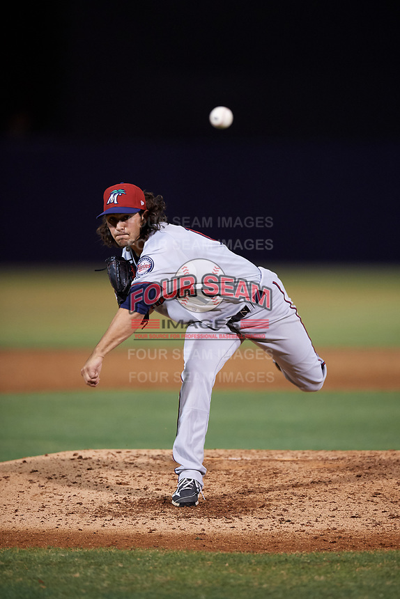 Fort Myers Miracle relief pitcher Michael Theofanopoulos (17) delivers a pitch during a game against the Tampa Yankees on April 12, 2017 at George M. Steinbrenner Field in Tampa, Florida.  Tampa defeated Fort Myers 3-2.  (Mike Janes/Four Seam Images)