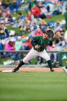 Great Lakes Loons first baseman Luis Paz (41) waits to receive a throw during a game against the Burlington Bees on May 4, 2017 at Dow Diamond in Midland, Michigan.  Great Lakes defeated Burlington 2-1.  (Mike Janes/Four Seam Images)