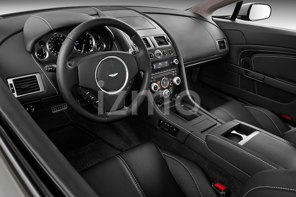 High angle dashboard view of a 2007 - 2009 Aston Martin Vantage V8 Roadster Coupe.