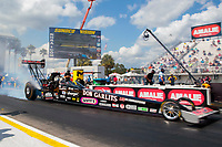Sep 26, 2020; Gainesville, Florida, USA; NHRA top fuel driver Steve Torrence drives a Don Garlits tribute dragster during qualifying for the Gatornationals at Gainesville Raceway. Mandatory Credit: Mark J. Rebilas-USA TODAY Sports