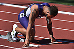 12 JUNE 2015: Cameron Echols-Luper of TCU gets set for the start of the Men's 4X100 meters  during the Division I Men's and Women's Outdoor Track & Field Championship held at Hayward Field in Eugene, OR.  Steve Dykes/ NCAA Photos