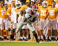 KNOXVILLE, TN - OCTOBER 5: D'Andre Swift #7 of the Georgia Bulldogs runs after a catch during a game between University of Georgia Bulldogs and University of Tennessee Volunteers at Neyland Stadium on October 5, 2019 in Knoxville, Tennessee.