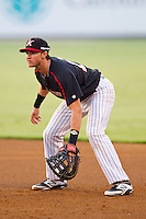 Kannapolis Intimidators first baseman Michael Marjama (12) on defense against the Lakewood BlueClaws at CMC-Northeast Stadium on August 14, 2013 in Kannapolis, North Carolina.  The Intimidators defeated the BlueClaws 10-2.  (Brian Westerholt/Four Seam Images)