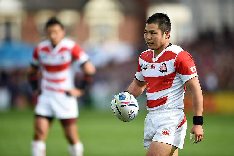 Fumiaki Tanaka of Japan looks on during a break in play. Rugby World Cup Pool B match between Scotland and Japan on September 23, 2015 at Kingsholm Stadium in Gloucester, England. Photo by: Patrick Khachfe / Stewart Communications