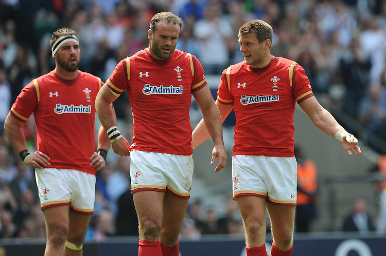 Jamie Roberts and Dan Biggar of Wales discuss what went wrong after Luther Burrell of England scores a try during the Old Mutual Wealth Cup match between England and Wales at Twickenham Stadium on Sunday 29th May 2016 (Photo: Rob Munro/Stewart Communications)