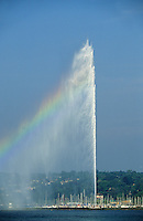 Switzerland. Geneva. Water spout on Lac/Lake Leman. Jet d'Eau. 140 m.