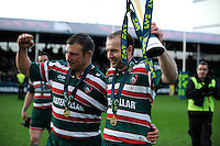 An emotional Julian White (left) and Geordan Murphy of Leicester Tigers at the end of the LV= Cup Final match between Leicester Tigers and Northampton Saints at Sixways Stadium, Worcester on Sunday 18 March 2012 (Photo by Rob Munro, Fotosports International)