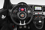 Car pictures of steering wheel view of a 2018 Abarth 595 Turismo Base 2 Door Convertible