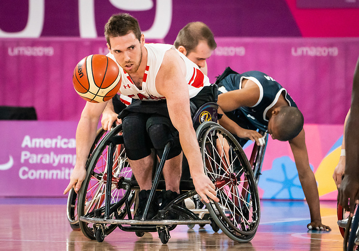 Colin Higgins, Lima 2019 - Wheelchair Basketball // Basketball en fauteuil roulant.<br /> Men's wheelchair basketball takes on Colombia in the semifinal game // Le basketball en fauteuil roulant masculin affronte la Colombie en demi-finale. 30/08/2019.