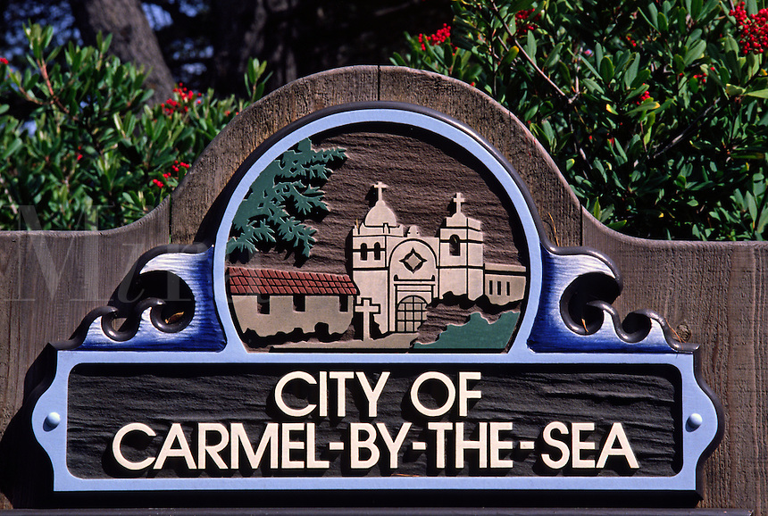 Carved WOODEN SIGN of the city of CARMEL depicting the Carmel Mission - CALIFORNIA