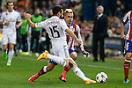 Atletico de Madrid's Griezmann (R) and Real Madrid´s Daniel Carvajal during quarterfinal first leg Champions League soccer match at Vicente Calderon stadium in Madrid, Spain. April 14, 2015. (ALTERPHOTOS/Victor Blanco)