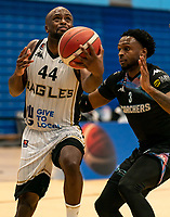 Rahmon Fletcher of Newcastle Eagles powers to the basket during the BBL Championship match between Surrey Scorchers and Newcastle Eagles at Surrey Sports Park, Guildford, England on 20 March 2021. Photo by Liam McAvoy.