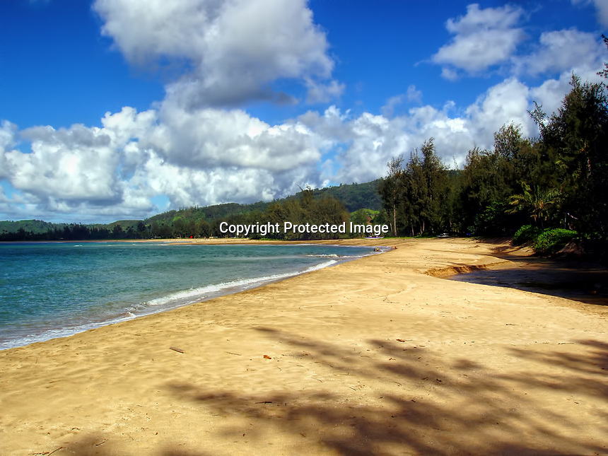 "Beach at Hanalei Bay, famous for films such as ""South Pacific"", ""Club Paradise"", and many others. Kauai, Hawaii"