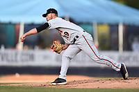 Delmarva Shorebirds starting pitcher Drew Rom (19) delivers a pitch during a game against the Asheville Tourists at McCormick Field on May 4, 2019 in Asheville, North Carolina. The Shorebirds defeated the Tourists 4-0. (Tony Farlow/Four Seam Images)