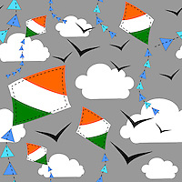 """Seamless repeatable pattern tile vector background with Indian flag kites flying in sky with clouds and birds.<br /> <br /> Suitable for projects related to Indian Republic Day (26th January), Indian Independence Day (15th August) or other Indian patriotic themes.<br /> <br /> Available also as latest EPS format (Scalable to infinite size) and PNG format.<br /> <br /> WANT TO SEE HOW THIS WILL  LOOK WHEN ARRANGED AS A PATTERN?<br /> <br /> You can find the image of whole pattern put together in this gallery only.<br /> <br /> Tip: It should be the image next to this one, or, just search """"seamless+kites+India""""!"""