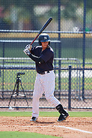 New York Yankees Jesus Bastidas (3) at bat during a Florida Instructional League game against the Philadelphia Phillies on October 11, 2018 at Yankee Complex in Tampa, Florida.  (Mike Janes/Four Seam Images)