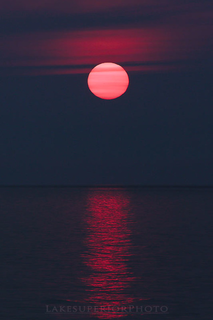 sunspot sunset, Lake Superior