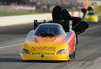 Sept. 3, 2011; Claremont, IN, USA: NHRA funny car driver Bob Bode during qualifying for the US Nationals at Lucas Oil Raceway. Mandatory Credit: Mark J. Rebilas-