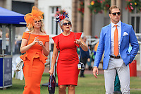 9th September 2021; Doncaster Racecourse, Doncaster, South Yorkshire, England;   St Leger Ladies Day; Punters enjoying themselves at the St Leger Festival 2021 at Doncaster Racecourse