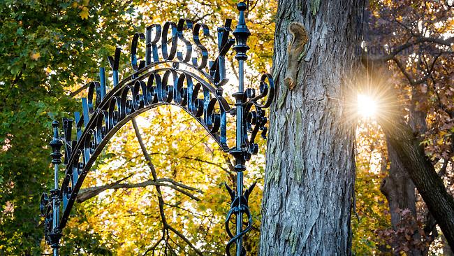 Nov. 2, 2015; Gate to Holy Cross Cemetery. (Photo by Matt Cashore/University of Notre Dame)