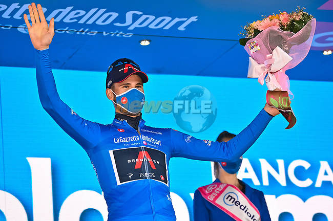 Filippo Ganna (ITA) Ineos Grenadiers retains the mountains Maglia Azzurra at the end of Stage 7 of the 103rd edition of the Giro d'Italia 2020 running 143km from Matera to Brindisi, Sicily, Italy. 9th October 2020.  <br /> Picture: LaPresse/Massimo Paolone | Cyclefile<br /> <br /> All photos usage must carry mandatory copyright credit (© Cyclefile | LaPresse/Massimo Paolone)