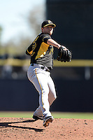 Pitcher Andy Oliver (52) of the Pittsburgh Pirates during a spring training game against the Toronto Blue Jays on February 28, 2014 at Florida Auto Exchange Stadium in Dunedin, Florida.  Toronto defeated Pittsburgh 4-2.  (Mike Janes/Four Seam Images)