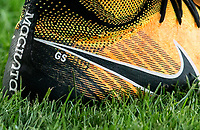 Gylfi Sigurosson of Swansea City personalised Nike football boots during the 2017/18 Pre Season Friendly match between Barnet and Swansea City at The Hive, London, England on 12 July 2017. Photo by Andy Rowland.