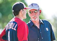 16 March 2014: Former Detroit Tigers Manager Jim Leyland chats with Washington Nationals infielder Jamey Carroll prior to a Spring Training Game at Space Coast Stadium in Viera, Florida. The Tigers edged out the Nationals 2-1 in Grapefruit League play. Mandatory Credit: Ed Wolfstein Photo *** RAW (NEF) Image File Available ***