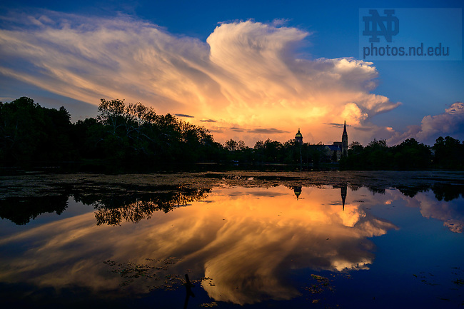 June 11, 2021; Saint Mary's Lake with distant storm clouds (Photo by Matt Cashore/University of Notre Dame)