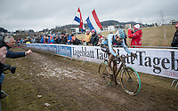 Wout Van Aert (BEL/Crelan-Willems) leading by a comfortable margin in the last lap<br /> <br /> Men's Race<br /> UCI 2017 Cyclocross World Championships<br /> <br /> january 2017, Bieles/Luxemburg