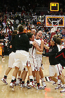 22 December 2007: Stanford Cardinal (not in order) Melanie Murphy, Jayne Appel, Michelle Harrison, JJ Hones, Candice Wiggins, Cissy Pierce, Kayla Pedersen, Hannah Donaghe, Rosalyn Gold-Onwude, Jeanette Pohlen, Ashley Cimino, Morgan Clyburn, and Jillian Harmon during Stanford's 73-69 overtime win against the Tennessee Lady Volunteers at Maples Pavilion in Stanford, CA.
