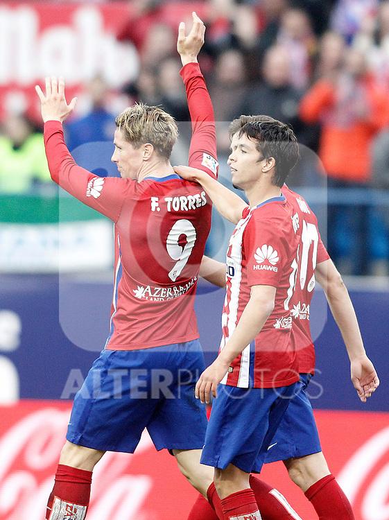 Atletico de Madrid's Fernando Torres, Oliver Torres and Saul Niguez celebrate goal during La Liga match. February 6,2016. (ALTERPHOTOS/Acero)