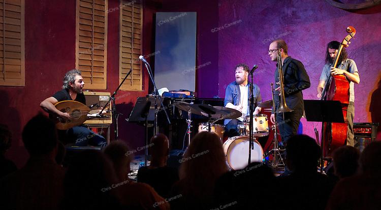 Gordon Grdina Trio, Tommy Babin bass, and Kenton Loewen drums, at Ironworks featuring trombonist Samuel Blaser