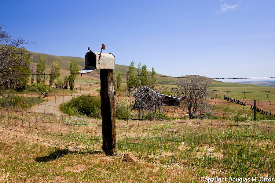 On the Washington side of the Columbia River Gorge, in the Columbia Hills, Dalles Mountain Ranch is a famed wildflower area.  This Mayl view is before the bloom due to unseasonably cold weather.  Dalles Mountain Road continues to climb the ridge past a neighboring ranch.
