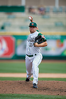 Fort Wayne TinCaps relief pitcher David Bednar (24) delivers a pitch during a game against the Wisconsin Timber Rattlers on May 10, 2017 at Parkview Field in Fort Wayne, Indiana.  Fort Wayne defeated Wisconsin 3-2.  (Mike Janes/Four Seam Images)