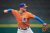 Durham Bulls third baseman Jake Hager (5) throws to first base during a game against the Buffalo Bisons on June 13, 2016 at Coca-Cola Field in Buffalo, New York.  Durham defeated Buffalo 5-0.  (Mike Janes/Four Seam Images)
