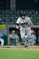 Evan Skoug (19) of the Winston-Salem Dash starts down the first base line against the Myrtle Beach Pelicans at TicketReturn.com Field on May 16, 2019 in Myrtle Beach, South Carolina. The Dash defeated the Pelicans 6-0. (Brian Westerholt/Four Seam Images)